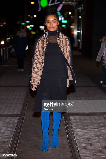 Yara Shahidi is seen wearing Akri jacket blouse and skirt with Loriblu boots Laura Lombardi earrings and Azlee rings in Midtown on January 2 2018 in...
