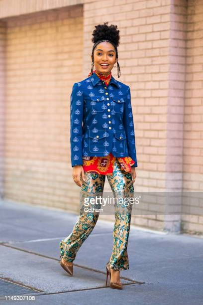 Yara Shahidi is seen wearing Chloe with Christian Louboutin shoes and Kat Kim jewelry in the Upper West Side on May 15, 2019 in New York City.