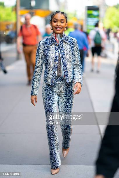 Yara Shahidi is seen wearing Giambattista Valli with Vram earrings and Brian Atwood shoes in Midtown on May 08, 2019 in New York City.