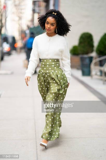 Yara Shahidi is seen wearing Marc Jacobs in SoHo on March 08 2019 in New York City