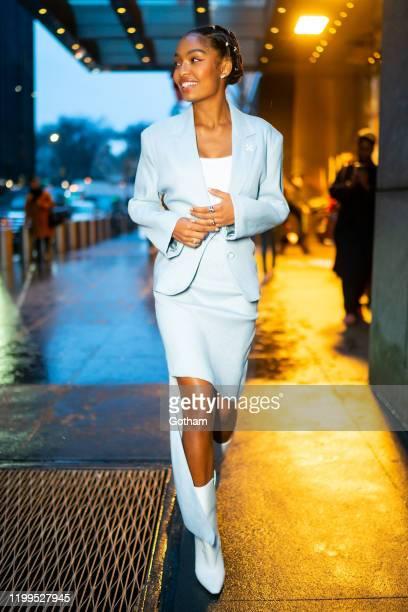 Yara Shahidi is seen wearing Off-White in Midtown on January 14, 2020 in New York City.