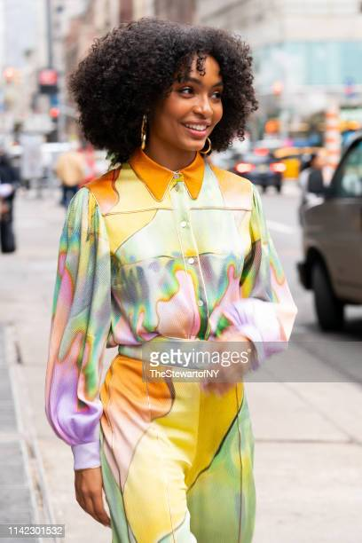 Yara Shahidi is seen wearing Petter Pilotto in Midtown on April 12, 2019 in New York City.
