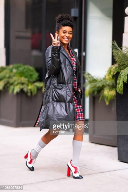 Yara Shahidi is seen wearing Thom Browne in Gramercy on January 02, 2019 in New York City.