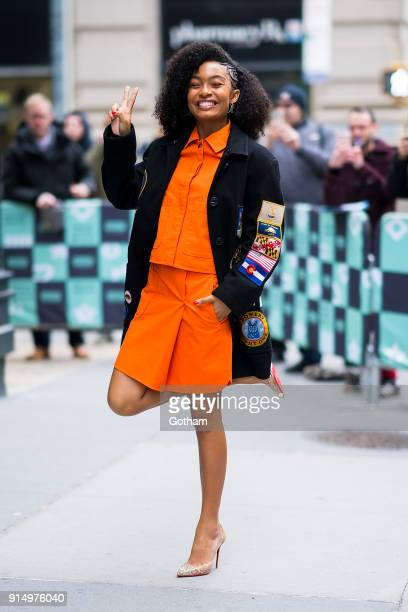 Yara Shahidi is wearing a Coach 1941 coat COS jacket and skirt with Christian Louboutin shoes APM Monaco earrings and Paige Novick jewelry in NoHo on...
