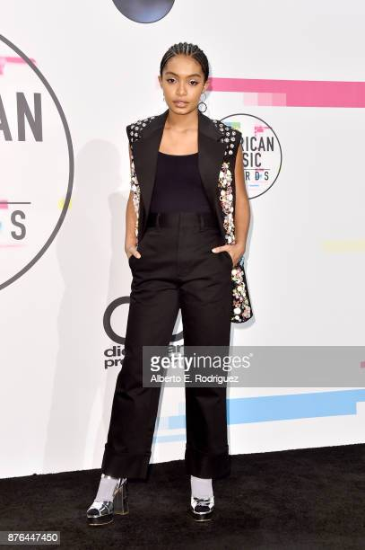 Yara Shahidi poses in the press room during the 2017 American Music Awards at Microsoft Theater on November 19 2017 in Los Angeles California