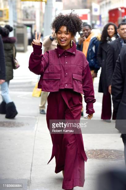 Yara Shahidi seen in Manhattan on January 14, 2020 in New York City.