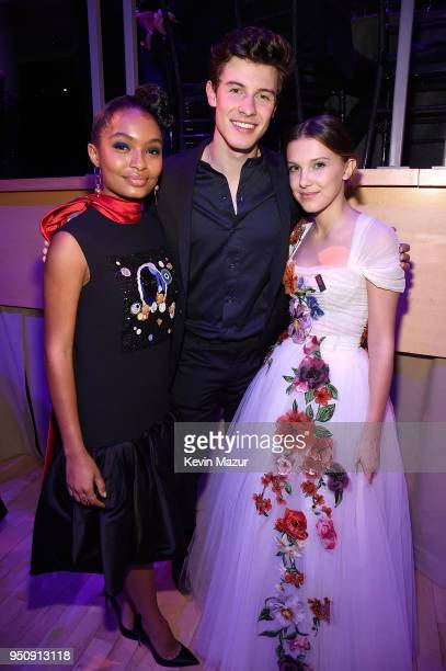 Yara Shahidi Shawn Mendes and Millie Bobby Brown attend the 2018 Time 100 Gala at Jazz at Lincoln Center on April 24 2018 in New York CityÊ