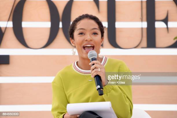 Yara Shahidi speaks onstage during The Teen Vogue Summit LA Keynote Conversation with Hillary Rodham Clinton and actress Yara Shahidi on December 2...