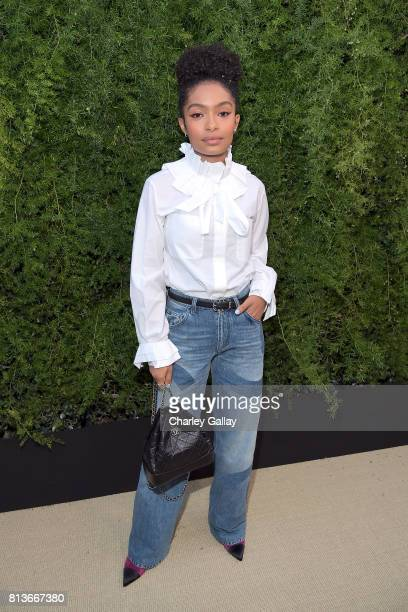 Yara Shahidi wearing Chanel at CHANEL Dinner Celebrating Lucia Pica The Travel Diary Makeup Collection on July 12 2017 in Los Angeles California