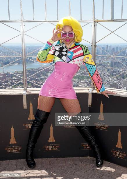 """Yara Sofia attends as Empire State Building hosts the cast of """"RuPaul's Drag Race All Stars"""" Season 6 on June 24, 2021 in New York City."""