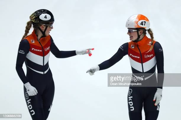 Yara Van Kerkhof and Lara Van Ruijven both of the Netherlands celebrate after the Womens 500m Final during the ISU World Cup Short Track at Optisport...