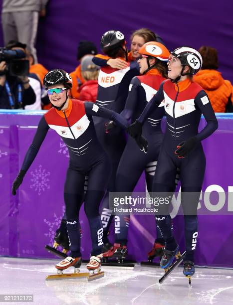 Yara Van Kerkhof and Lara Van Ruijven of the Netherlands celebrate victory during the Ladies Short Track Speed Skating 3000m Relay Final B on day...