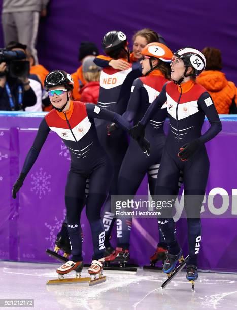 Yara Van Kerkhof and Lara Van Ruijven of the Netherlands celebrate victory during the Ladies Short Track Speed Skating 3000m Relay Final B on day...