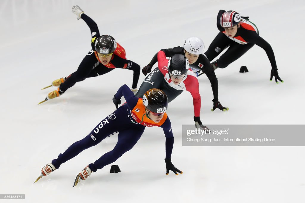 Yara van Kerkhof of Netherlands, Kim Boutin of Canada, Hitomi Saito of Japan and Jinyu Li of China compete in the Ladies 1000m Quarterfinals during during the Audi ISU World Cup Short Track Speed Skating at Mokdong Ice Rink on November 19, 2017 in Seoul, South Korea.