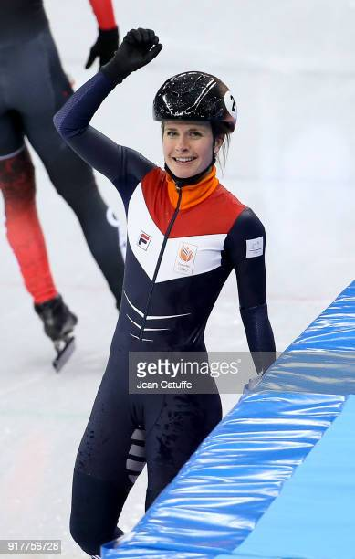 Yara Van Kerkhof of the Netherlands celebrates winning the silver medal in the Ladies' 500m Short Track Speed Skating final on day four of the...