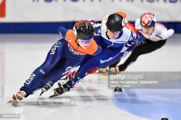 Yara van Kerkhof of the Netherlands competes in the women's 1000 meter quarterfinal during the World Short Track Speed Skating Championships at...
