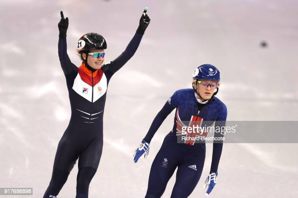 Yara Van Kerkhof of the Netherlands edges out Elise Christie of Great Britain at the finish line during the Ladies' 500m Short Track Speed Skating...