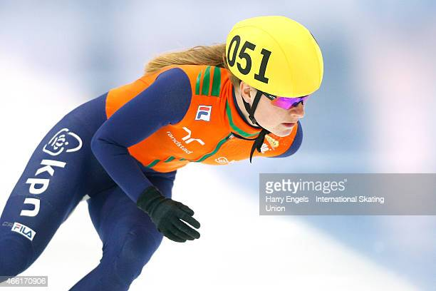 Yara van Kerkhof of the Netherlands in action during the Ladies' 500m RRHeats on day two of the ISU World Short Track Speed Skating Championships at...