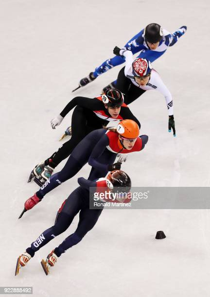 Yara Van Kerkhof of the Netherlands leads her Ladies 1000m Short Track Speed Skating Quarter Final on day thirteen of the PyeongChang 2018 Winter...