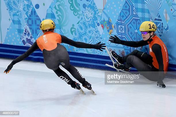 Yara van Kerkhof skates past teammate Sanne van Kerkhof of Netherlands while competing in the Short Track Ladies' 3000m Relay Semifinal on day 3 of...