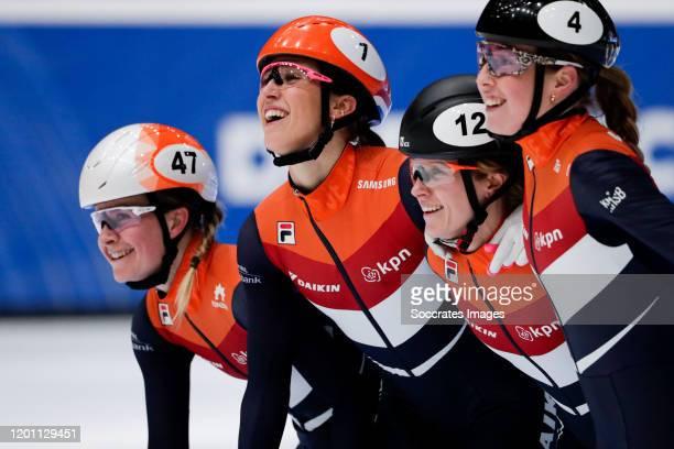 Yara van Kerkhof Suzanne Schulting Rianne de Vries Lara van Ruijven during the ISU World Cup Short Track at the Sportboulevard on February 15 2020 in...