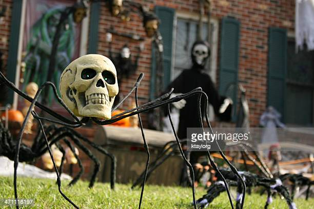 yard decorated for halloween - decoration stock pictures, royalty-free photos & images