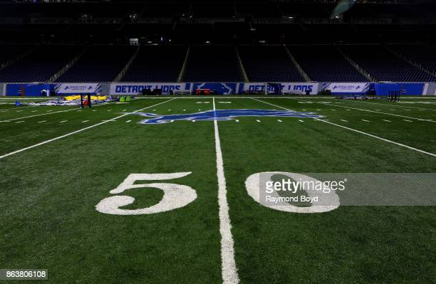 Yard line at Ford Field, home of the Detroit Lions football team in Detroit, Michigan on October 12, 2017.