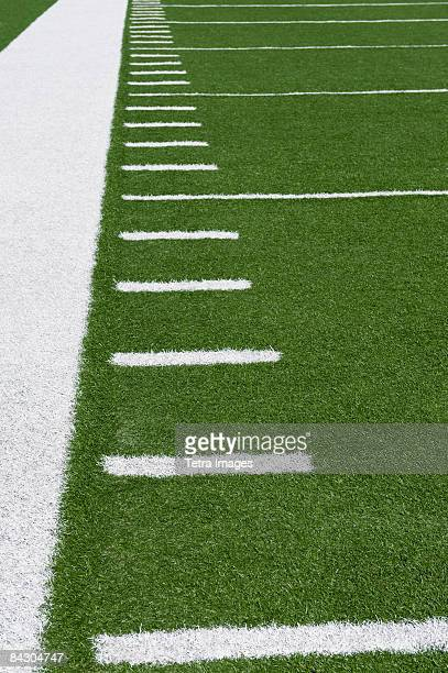 Yard line markers on football field