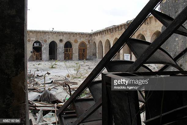 Yard of Umayyad Mosque destroyed after clashes between Asad regime forces and Syrian opponents is seen in Aleppo Syria on September 27 20144
