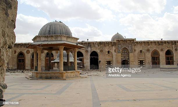 Yard of Umayyad Mosque destroyed after clashes between Asad regime forces and Syrian opponents is seen in Aleppo Syria on September 27 2014
