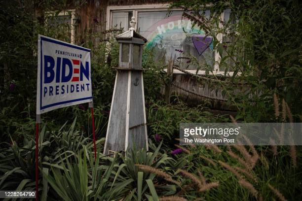 Yard sign in support of Presumptive Democratic presidential nominee former Vice President Joe Biden is seen in the suburb of Erie, Pennsylvania on...