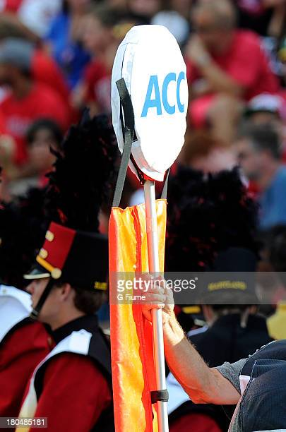 A yardage marker on the sideline of the game between the Maryland Terrapins and the Old Dominion Monarchs at Byrd Stadium on September 7 2013 in...