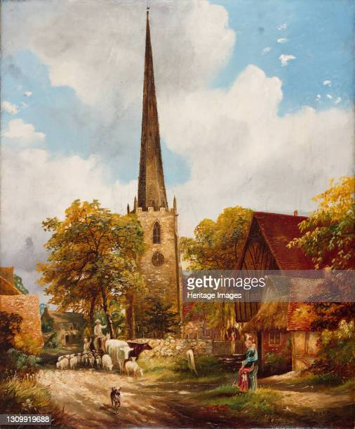 Yardley Church and School, 1900. Yardley is now a district of the city of Birmingham. Artist E Watts. .