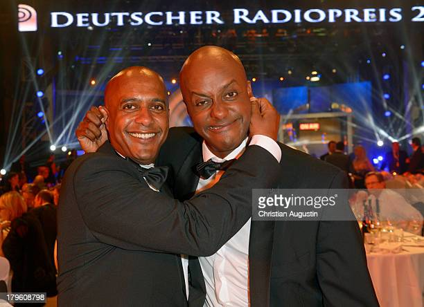 "Yared Bibaba and brother Benjamin attend ""Deutscher Radiopreis"" at Schuppen 52 on September 5, 2013 in Hamburg, Germany."