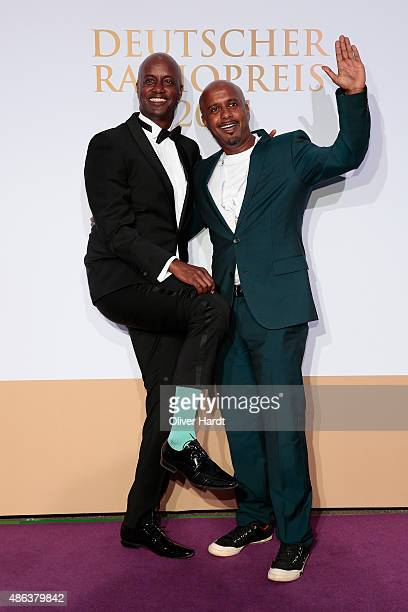 Yared Dibaba and Ben Jamin poses during the Deutscher Radiopreis 2015 at Schuppen 52 on September 3, 2015 in Hamburg, Germany.