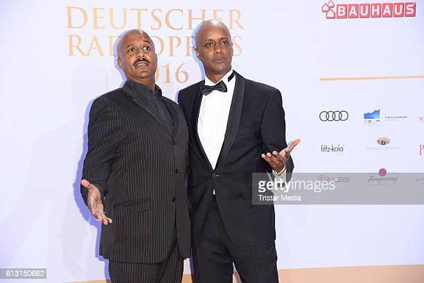 Yared Dibaba and his brother Benjamin Dibaba attend the Deutscher Radiopreis 2016 on October 6, 2016 in Hamburg, Germany.