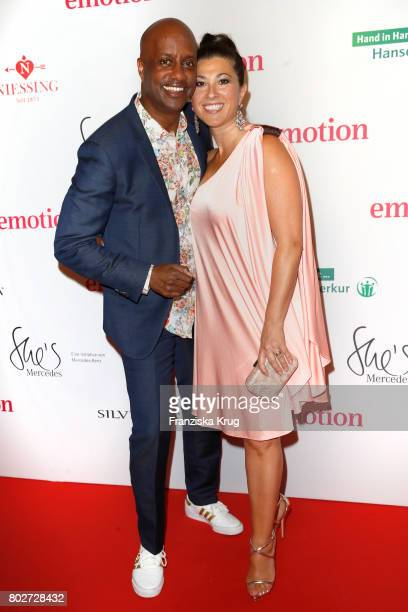 Yared Dibaba and his wife Fernanda de Sousa Dibaba attend the Emotion Award at Laeiszhalle on June 28, 2017 in Hamburg, Germany.