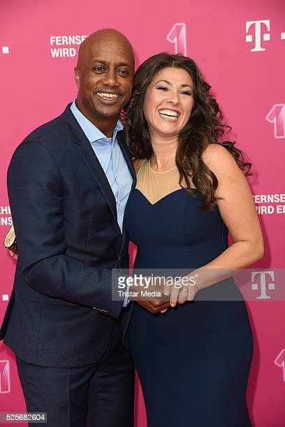 Yared Dibaba and his wife Fernanda de Sousa Dibaba attend the Telekom Entertain TV Night at Hotel Zoo on April 28, 2016 in Berlin, Germany.