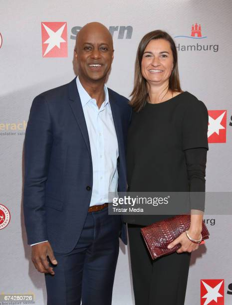 Yared Dibaba and Inka Schneider during the Henri Nannen Award red carpet arrivals on April 27, 2017 in Hamburg, Germany.