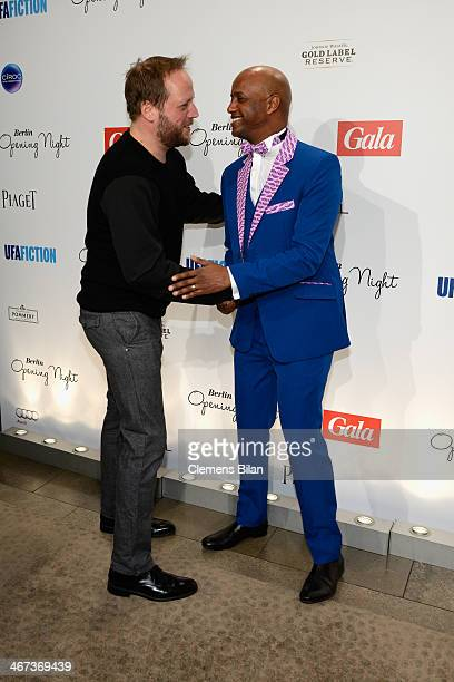 Yared Dibaba and Smudo attends the Berlin Opening Night Of Gala & Ufa Fiction during the 64th Berlinale International Film Festival at Hotel Das Stue...