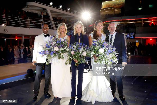 Yared Dibaba, godmother Laura Ludwig, Wybcke Meier , godmother Kira Walkenhorst wearing a dress by Lever Couture and Stephan Zimmermann during the...