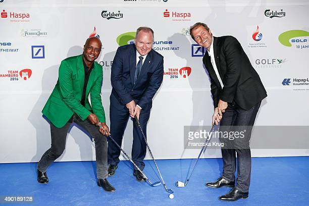 Yared Dibaba, Michael Neumann and Peter Merck attend the Golf Lounge Hamburg 10th anniversary celebrations on September 26, 2015 in Hamburg, Germany....