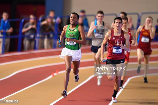 Yared Nuguse of the Notre Dame Fighting Irish races to victory in the Men's Distance Medley race during the Division I Men'u2019s and Women'u2019s...