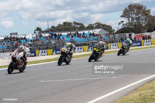 Yari Montella of Italy and Sic 58 Squadra Corse leads the field during free practice for the 2018 MotoGP of Australia at Phillip Island Grand Prix...
