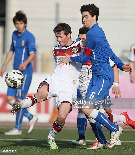 Yari Otto of Germany competes for the ball with Alessandro Bastoni of Italy during the international friendly match between U16 Italy and U16 Germany...