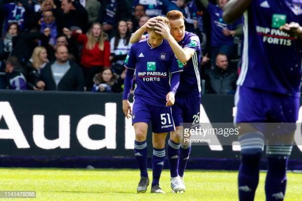 Yari Verschaeren midfielder of Anderlecht and Adrien Trebel midfielder of Anderlecht celebrates pictured during the Jupiler Pro League match between...