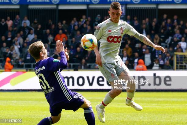 Yari Verschaeren midfielder of Anderlecht and Maxime Lestienne forward of Standard Liege pictured during the Jupiler Pro League match between RSC...