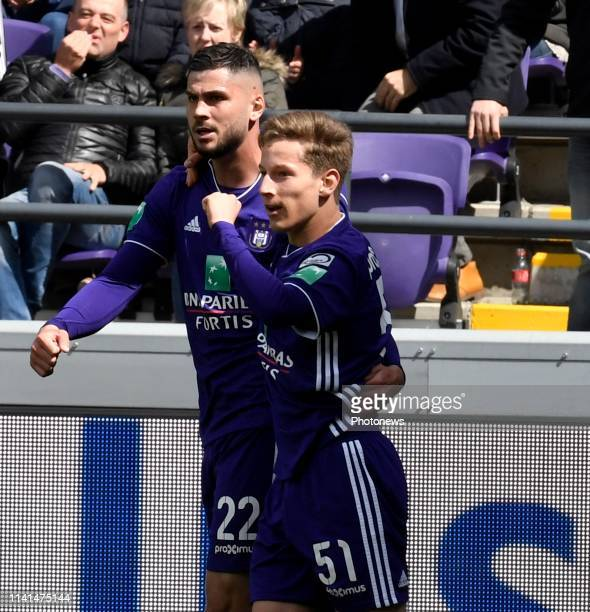 Yari Verschaeren midfielder of Anderlecht celebrates with teammates after scoring pictured during the Jupiler Pro League match between RSC Anderlecht...