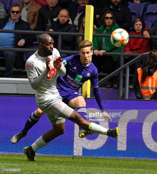 Yari Verschaeren midfielder of Anderlechtand Pedro Luis Cavanda defender of Standard Liege pictured during the Jupiler Pro League match between RSC...