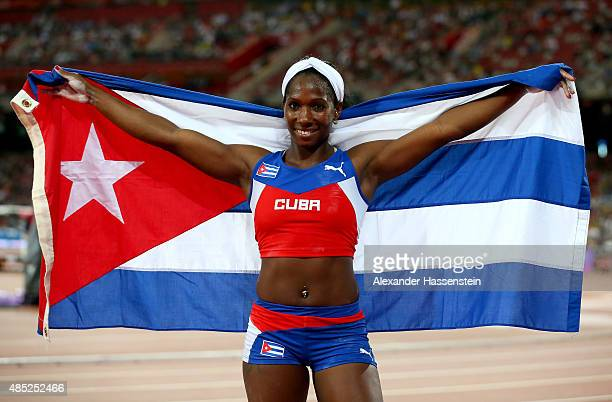Yarisley Silva of Cuba celebrates after winning gold in the Women's Pole Vault final during day five of the 15th IAAF World Athletics Championships...